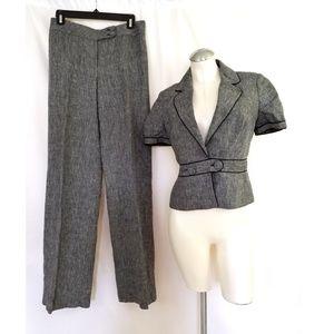 Ann Taylor LOFT Size 2 Gray Linen Pant Suit